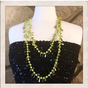 Vintage Flapper Beads! Green & Gold Leaf